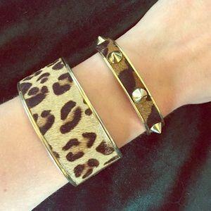 Pair of C.Wonder calf hair cuff bracelets.